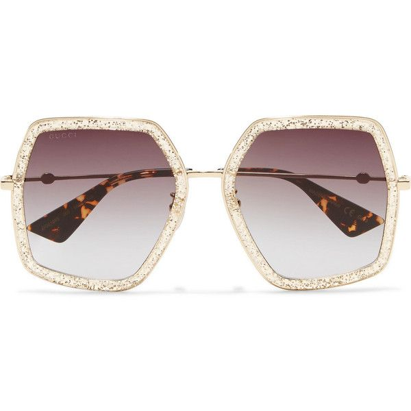 7a223d5ccd5b2 Gucci Square-frame glittered acetate sunglasses ( 400) ❤ liked on Polyvore  featuring accessories
