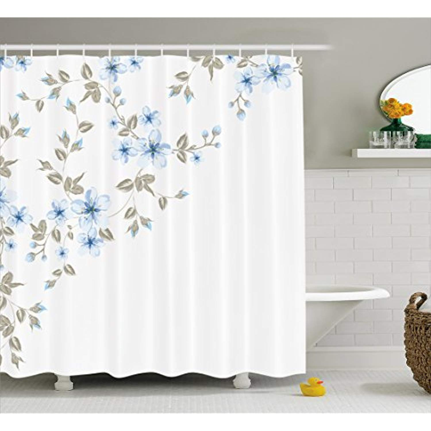 Ambesonne Pale Blue Shower Curtain Japanese Sakura Cherry Tree