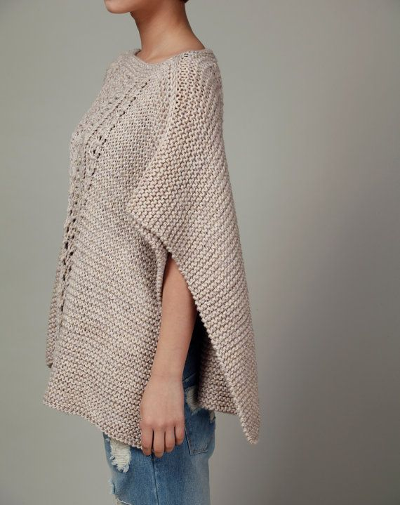 hand knitted woman cotton Poncho/ capelet wheat sweater - ready to ...