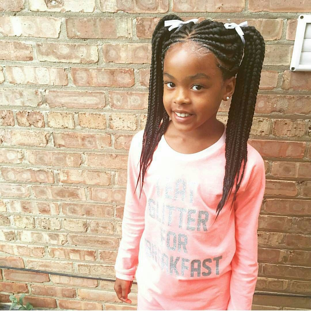 Ghana Braids In Two Ponytails Such A Cute Style For A Little Girl Little Girl Braids Cornrow Hairstyles Hair Styles