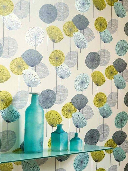 ... Optik: Matt, Design: Stilisierte Blüten, Grundfarbe: Hellelfenbein,  Musterfarbe: Gelbgrün, Grau, Schwarz, Türkis Glanz, Eigenschaften:  Lichtbeständig ...