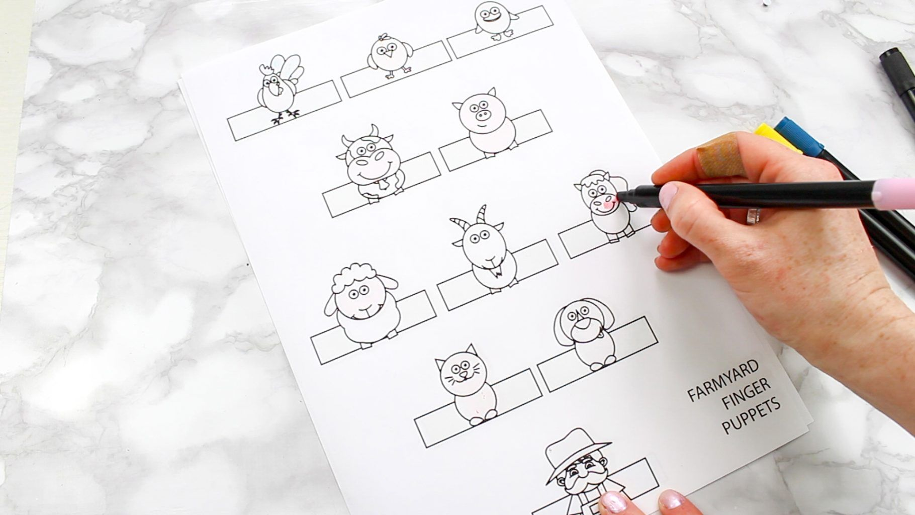 Printable Farm Animal Finger Puppets In