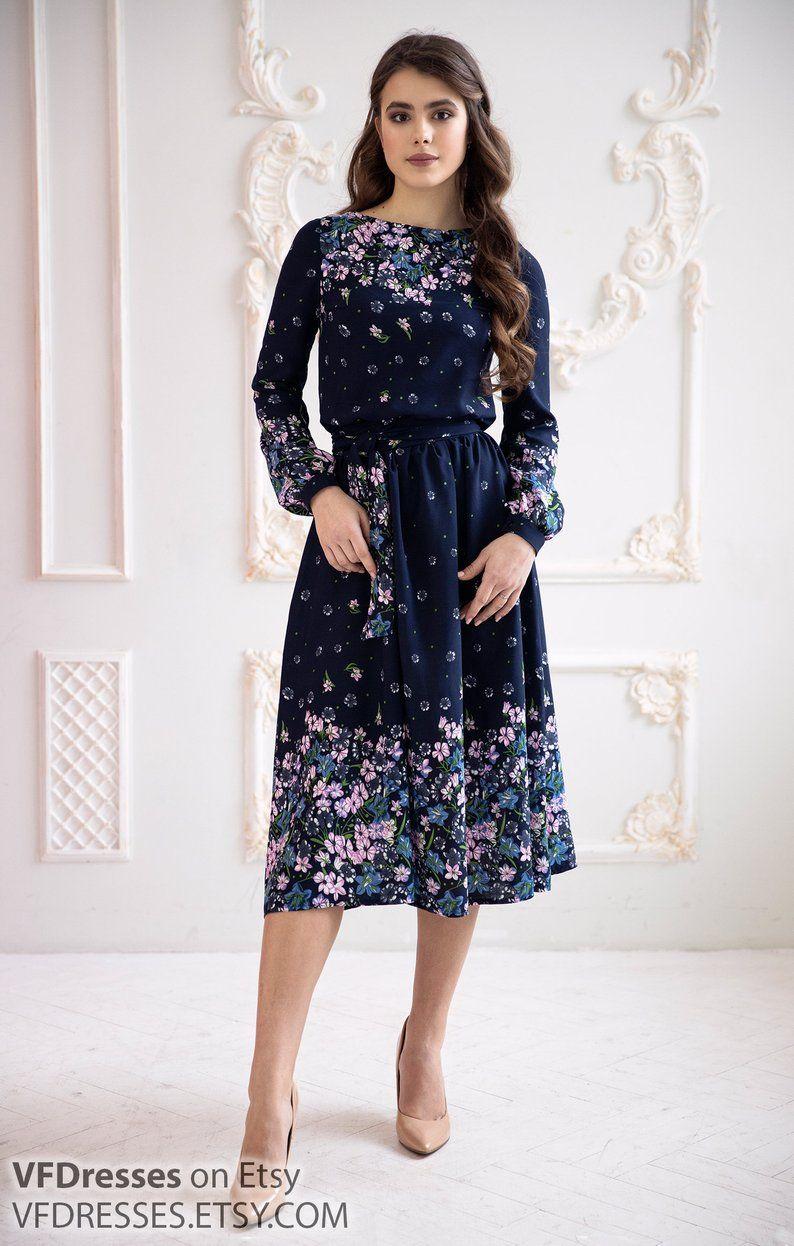 Dark Blue Summer Dress Summer Midi Dress Floral Dress With Etsy Summer Dresses Midi Dress Summer Blue Midi Dress [ 1246 x 794 Pixel ]