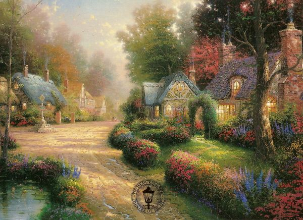 Cobblestone Lane I Winds Its Way Through A Rustic Village The Very Unevenness Of The Cobbled Path Adds A S Thomas Kinkade Ideias De Paisagismo Belas Imagens