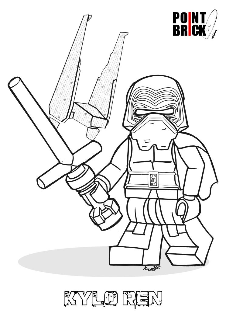 Disegni da Colorare LEGO Star Wars the Force Awakens Kylo Ren