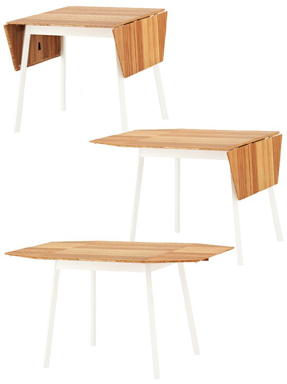 The expanding Ikea PS 2012 table can seat from two to four people, Ikea.