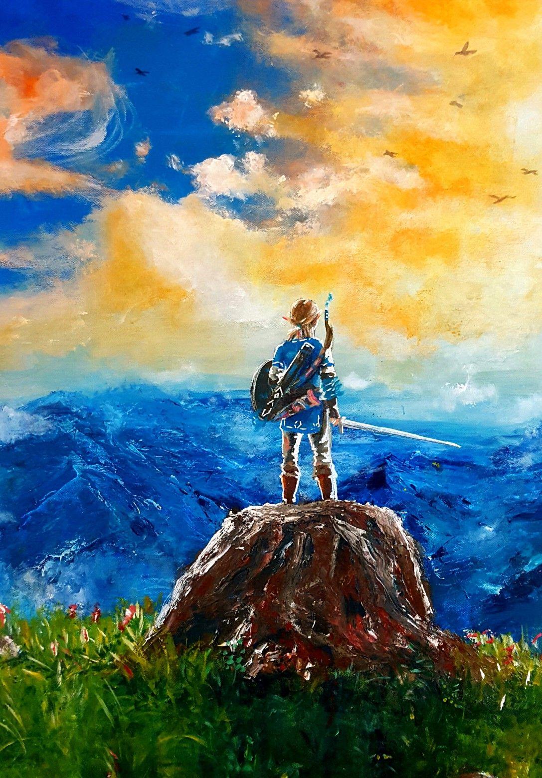 Painting Acrylic Zelda Breath Of The Wild Fanart Art Print Illustration Acrylic Painting Inspiration Painting Inspiration Painting