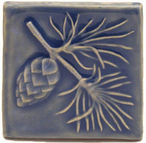 "Pine 4""x4"" Ceramic Handmade Tile | Arts and Crafts | Designer"