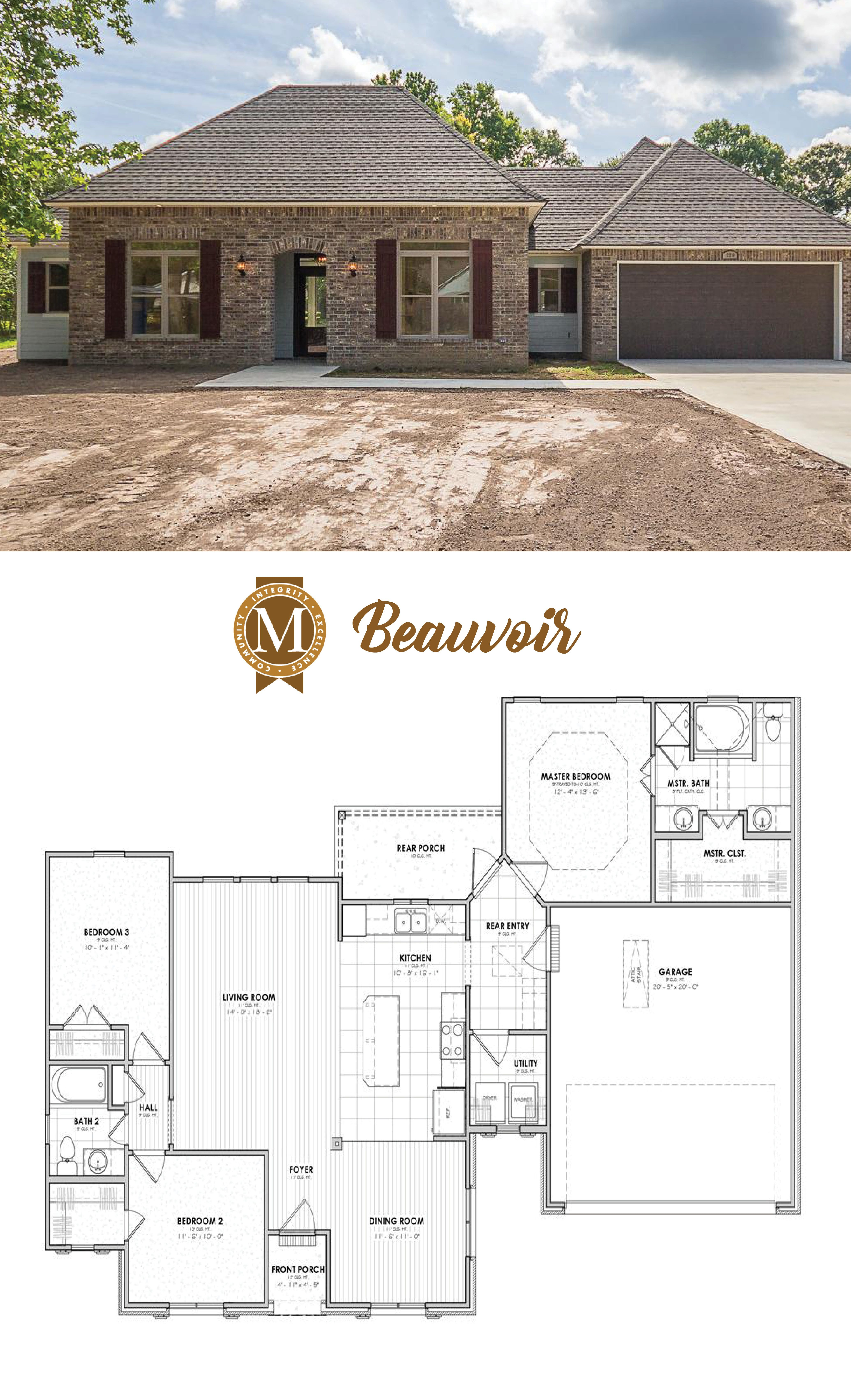 Beauvoir Floor Plan Elevation Heritage Living Square Feet 1601 Bedrooms 3 Bathrooms 2 Special Features Wood Til New House Plans New Homes House Plans