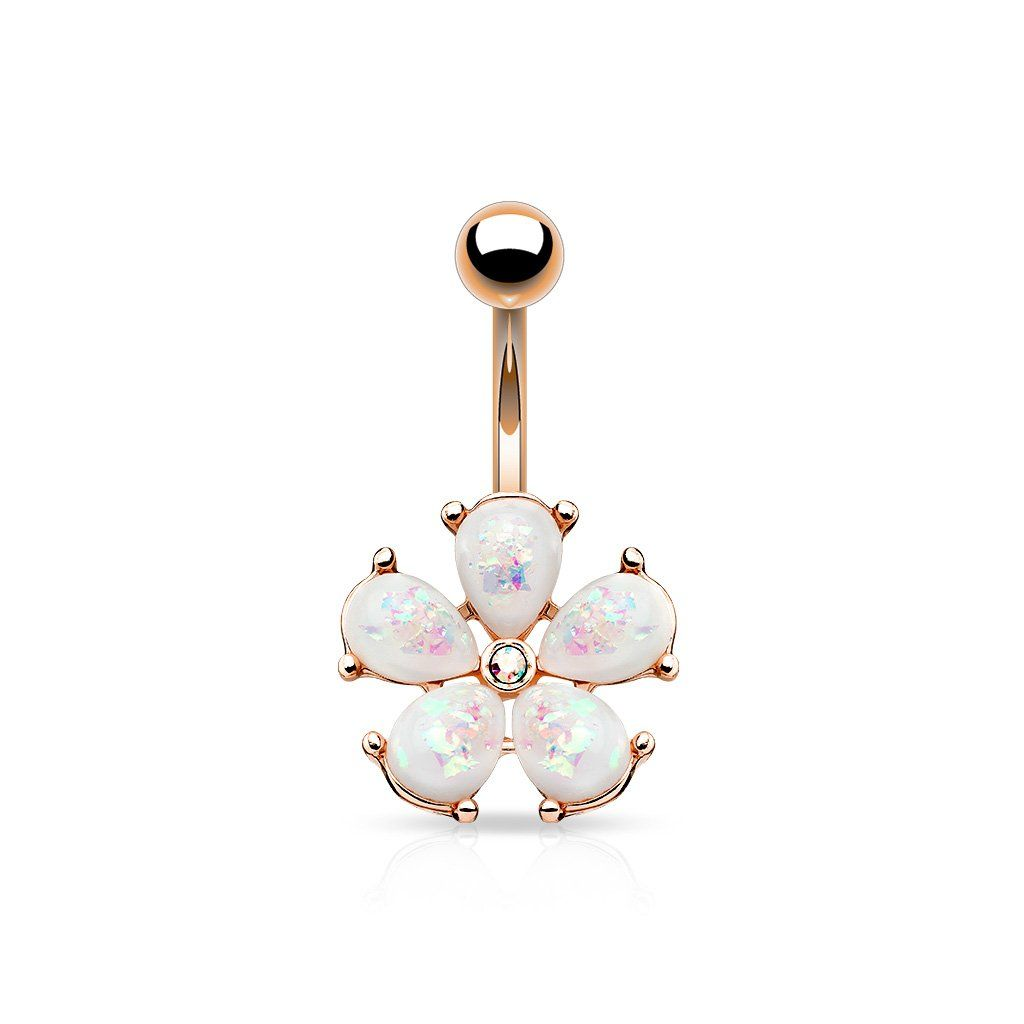 Rose gold belly piercing  Opal Petals with CZ Flower Belly Button Navel Rings  Products