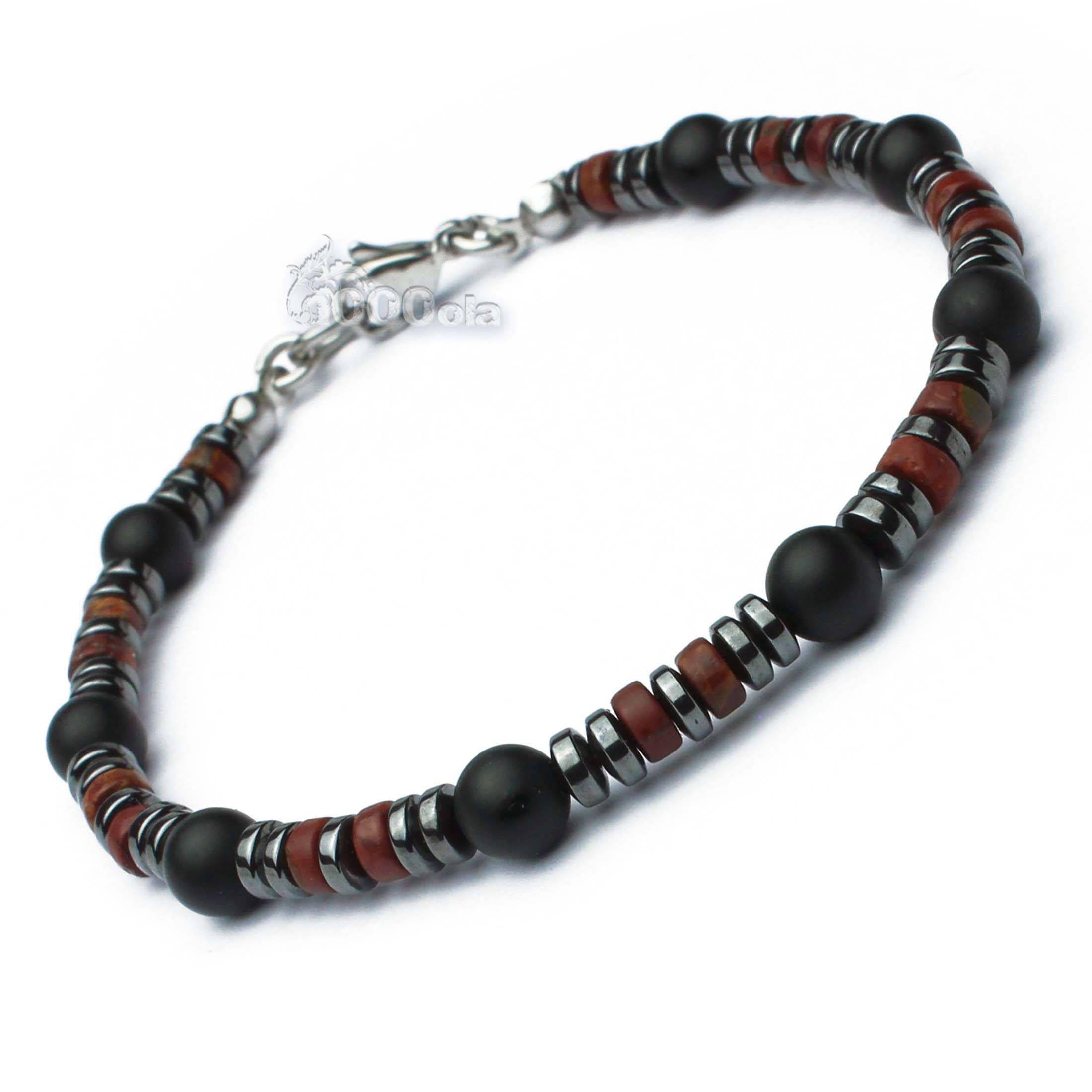 Homme//Femme 8 mm Agate Gemme Perles Bracelet-Naturel Rouge Jasper.
