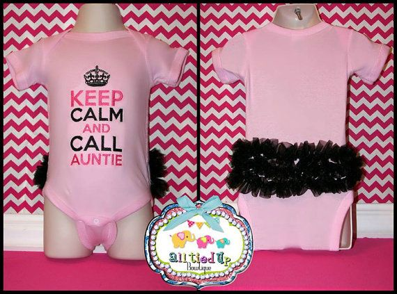 Keep Calm & Call Auntie Ruffle Butt Embroidered Onesie