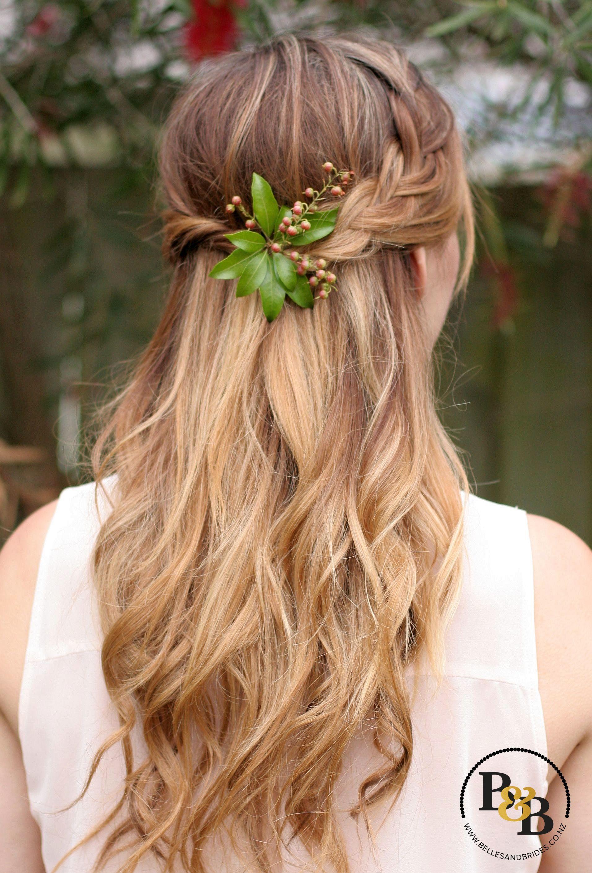 bridal hair half up half down with braid, bridesmaid hair with braid