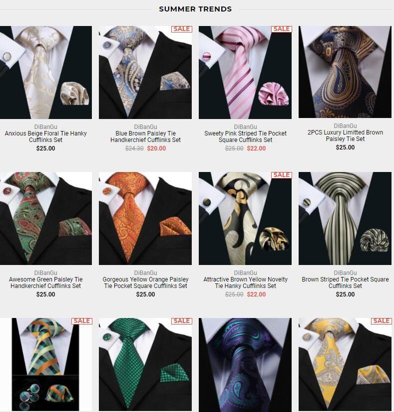 Floral Brown Silk Men Tie Set With Matching Hankie Cuff links Men Necktie Set