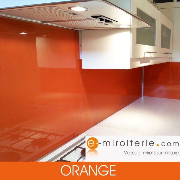 Credence De Cuisine En Verre Laque Sur Mesure Orange En 2019