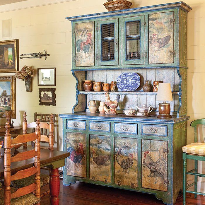 50 Cool And Creative Shabby Chic Dining Rooms: A Hand Painted Cupboard Featuring Images Of Roosters Gives