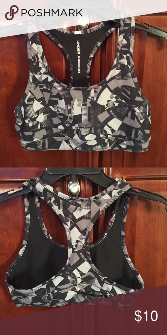 90e1316cd08a6 Under Armor sports bra. Black And GrayArmorsSport BrasUnder ArmourSports Medium