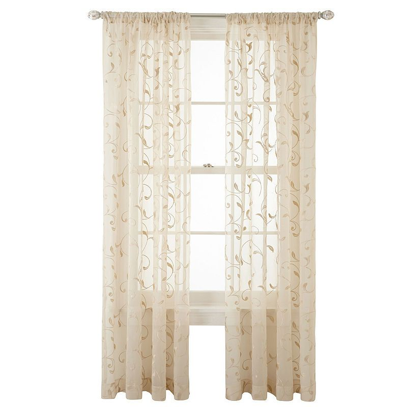 Jcpenney Home Harmon Sheer Rod Pocket Curtain Panel Rod Pocket