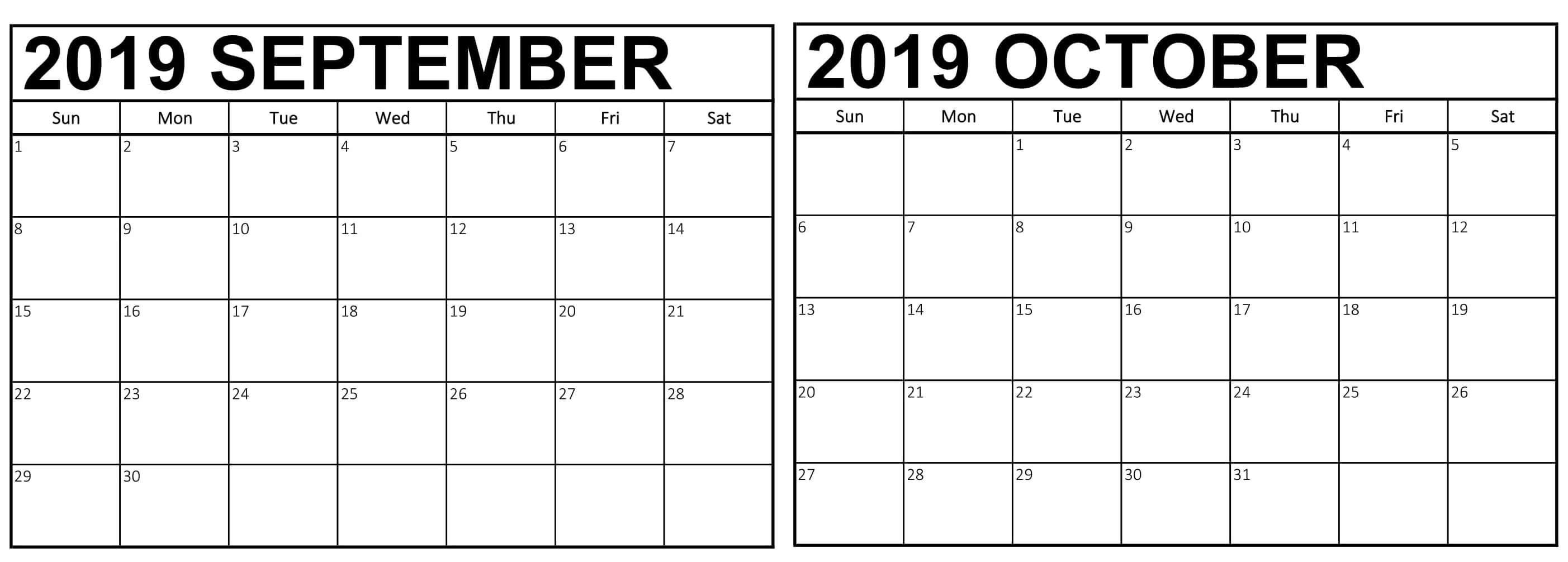 Free September October 2019 Calendar Printable Calendar