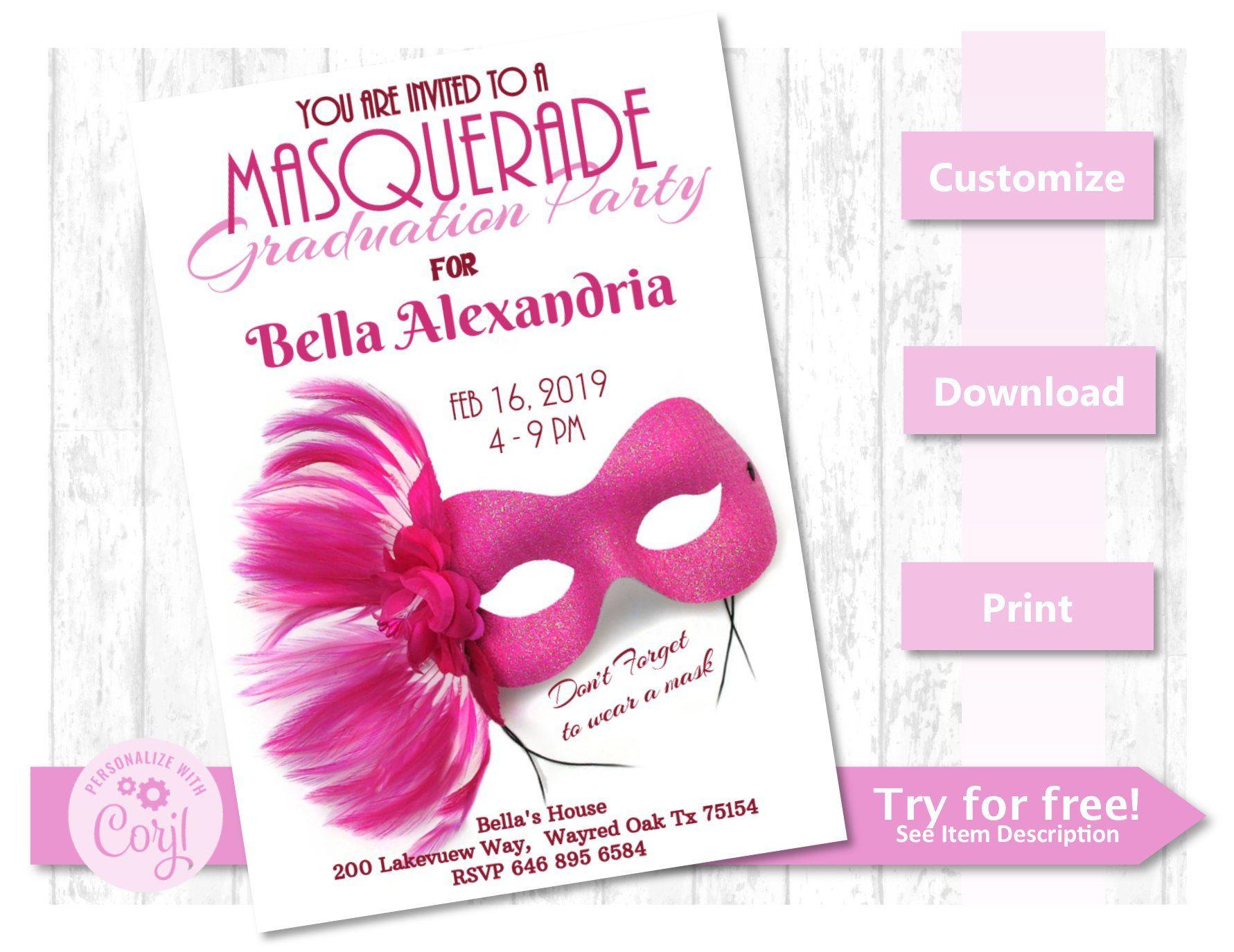 graduation birthday party invite masquerade pink 5x7 mask
