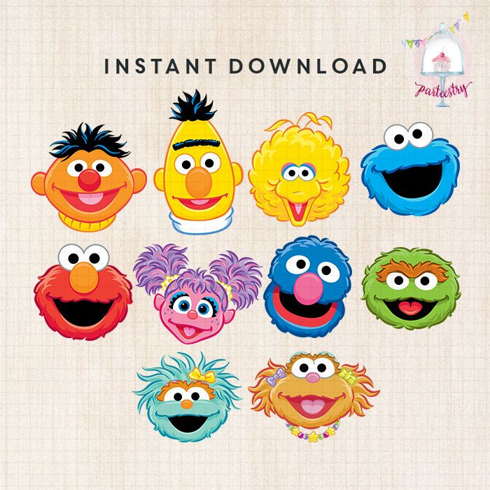 Sesame Street Characters Head Clipart | Imágenes Prediseñadas ...