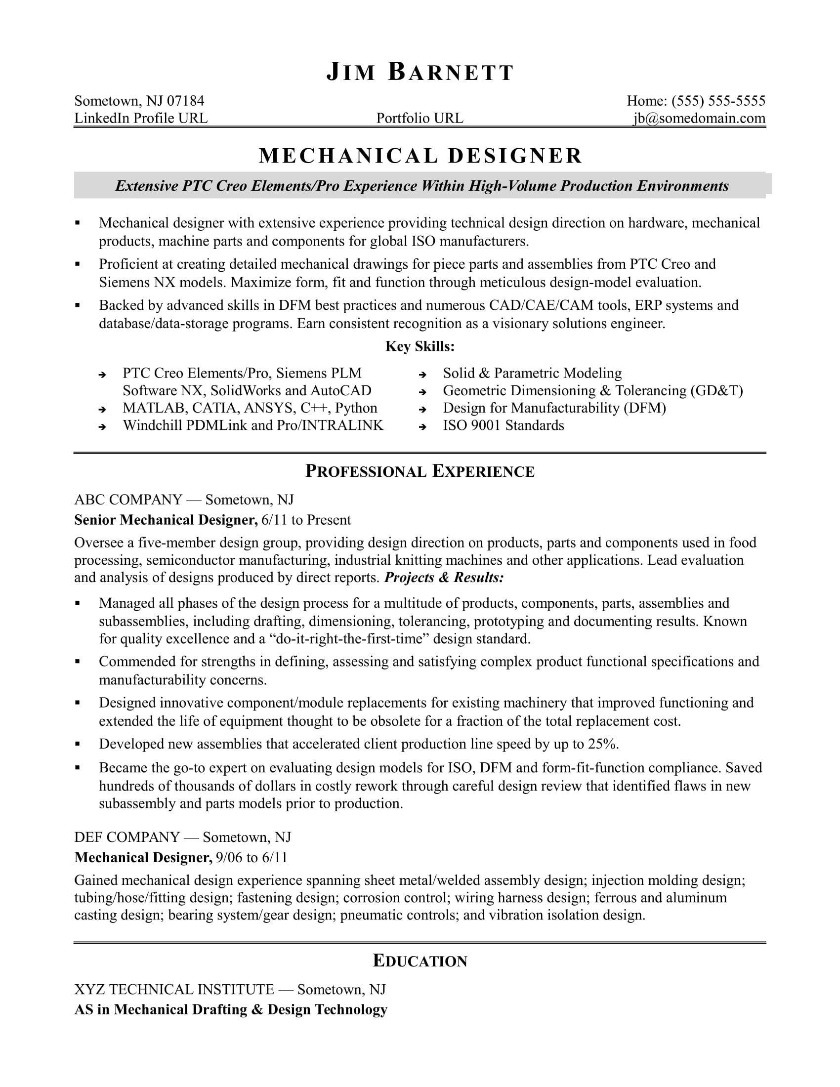 Mechanical Engineer Resume Sample Stunning Sample Resume For An Experienced Mechanical Designer Of Mechanical Engineer Resume Resume Examples Resume Templates