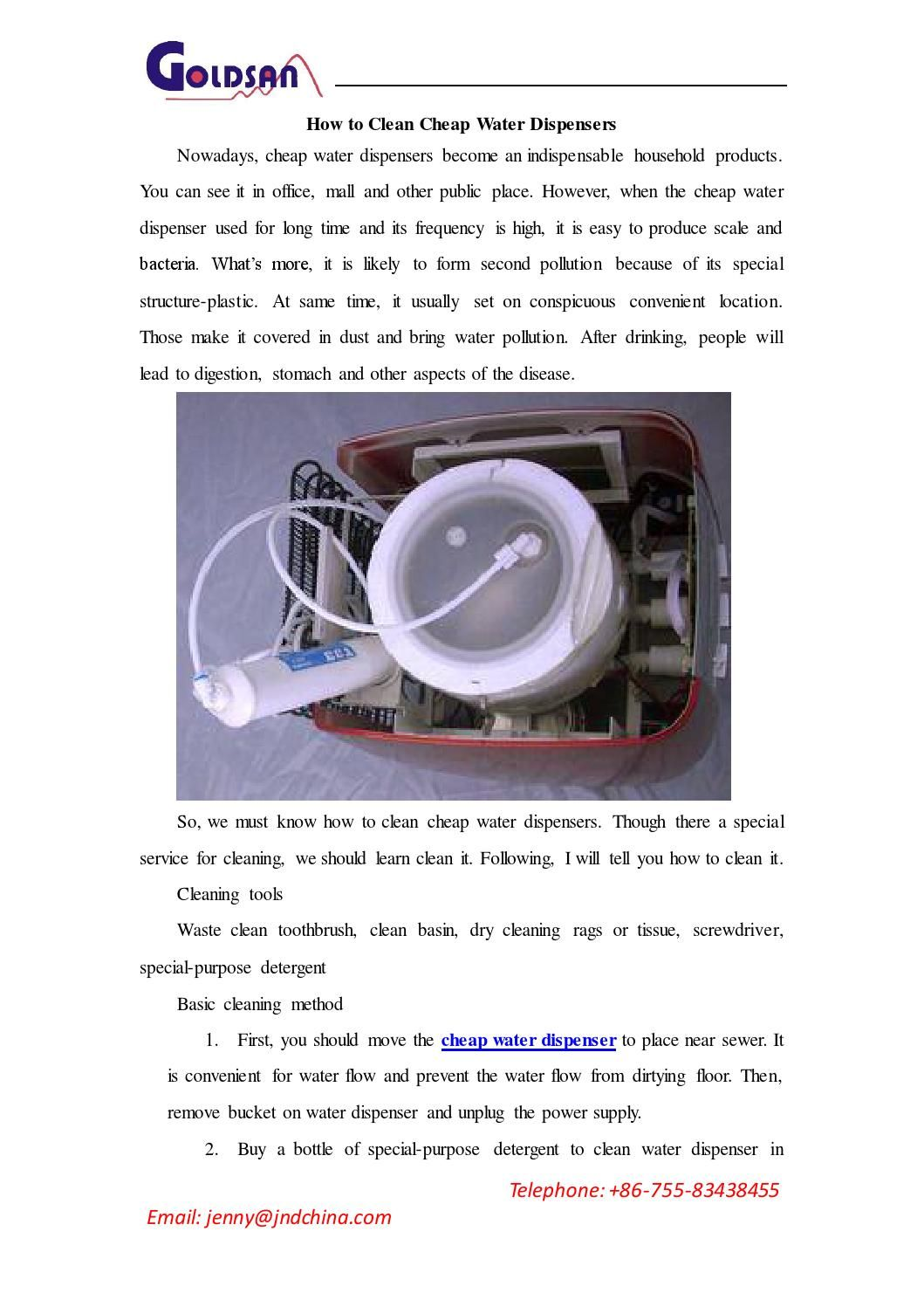 How to clean water dispensers Water dispenser, Water