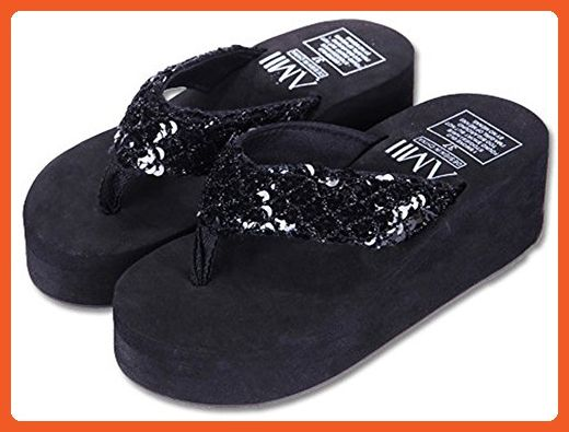 0bc1a80b231e3 IDIFU Women s Glitter Sequined Wedge Platform Flip Flops With Heels Beach  Thong Sandals Black 6.5 B(M) US - Sandals for women ( Amazon Partner-Link)