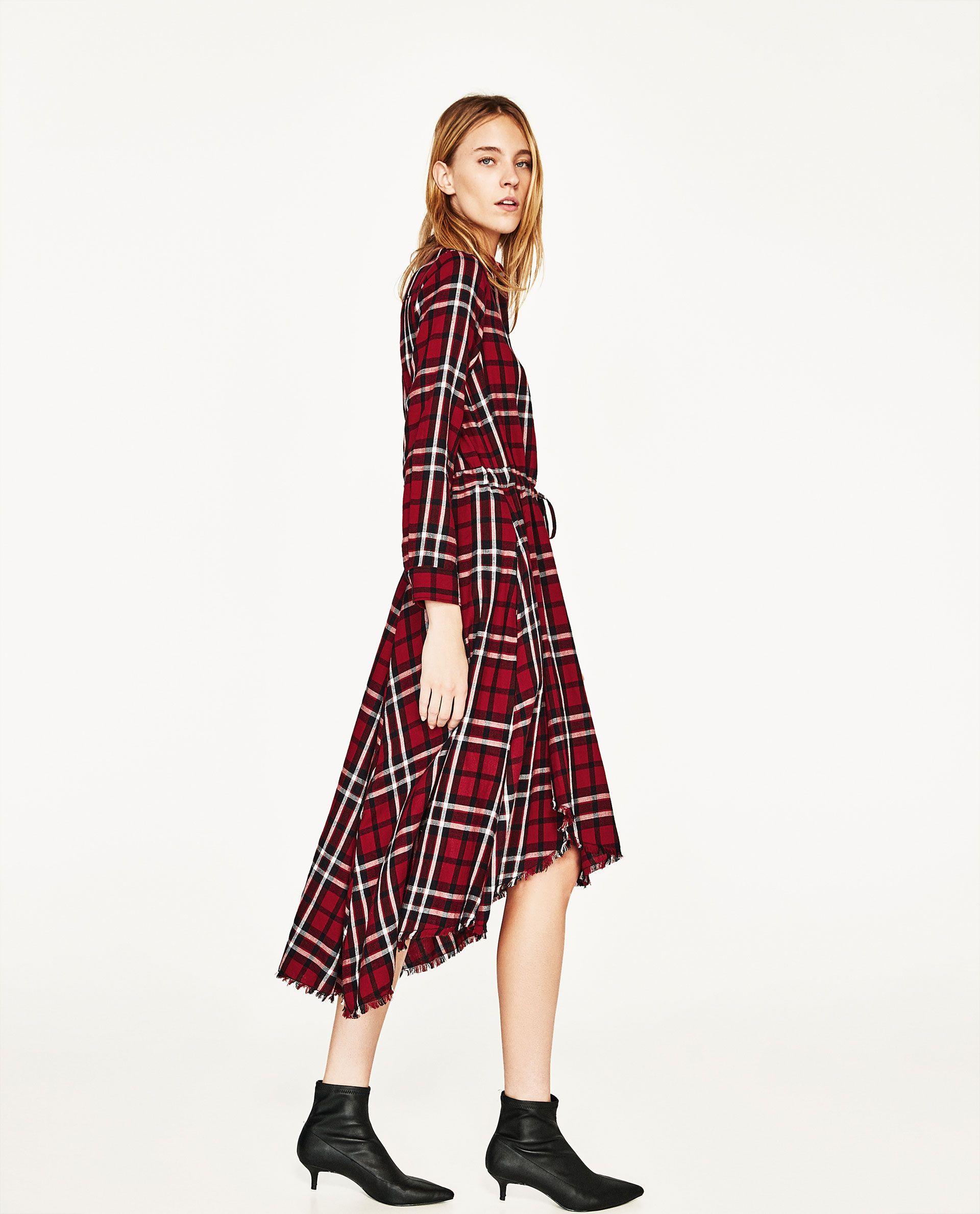 Asymmetric Check Midi Dress Zara Trends Fashion Photoshoot Fashion