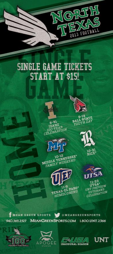 North Texas Single Game Football Ticket Brochure (2013)