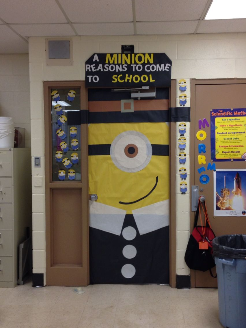 Minion Pilgrim Classroom Door To Promote Good Attendance