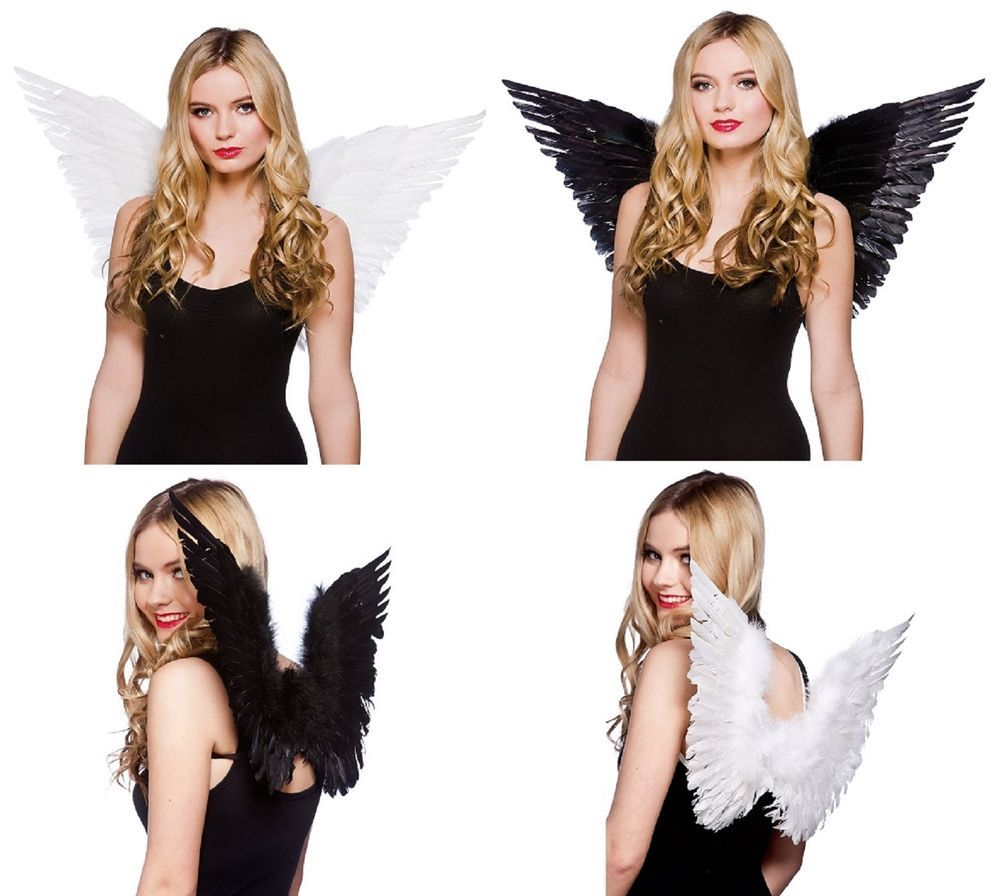 Details about White or Black Feather Angel Fairy Halloween Christmas