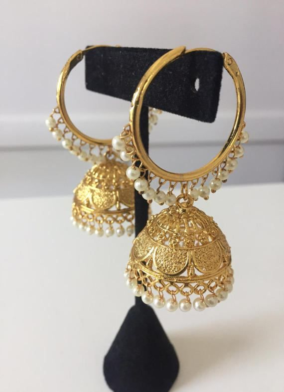 Gorgeous Gold Jhumka Earrings They Have Small Pearl Drops On The Hoop And A With Intricate Design Are 2 Long