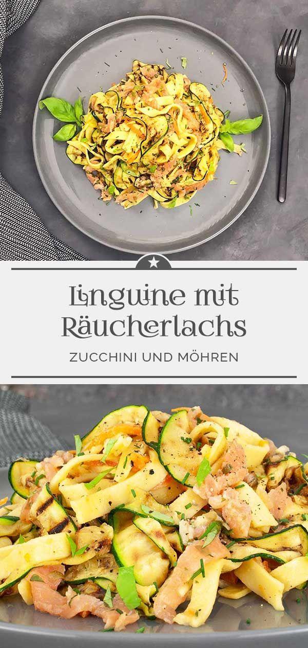 Linguine mit Räucherlachs, Zucchini und Möhren - Eine kleine Prise Anna
