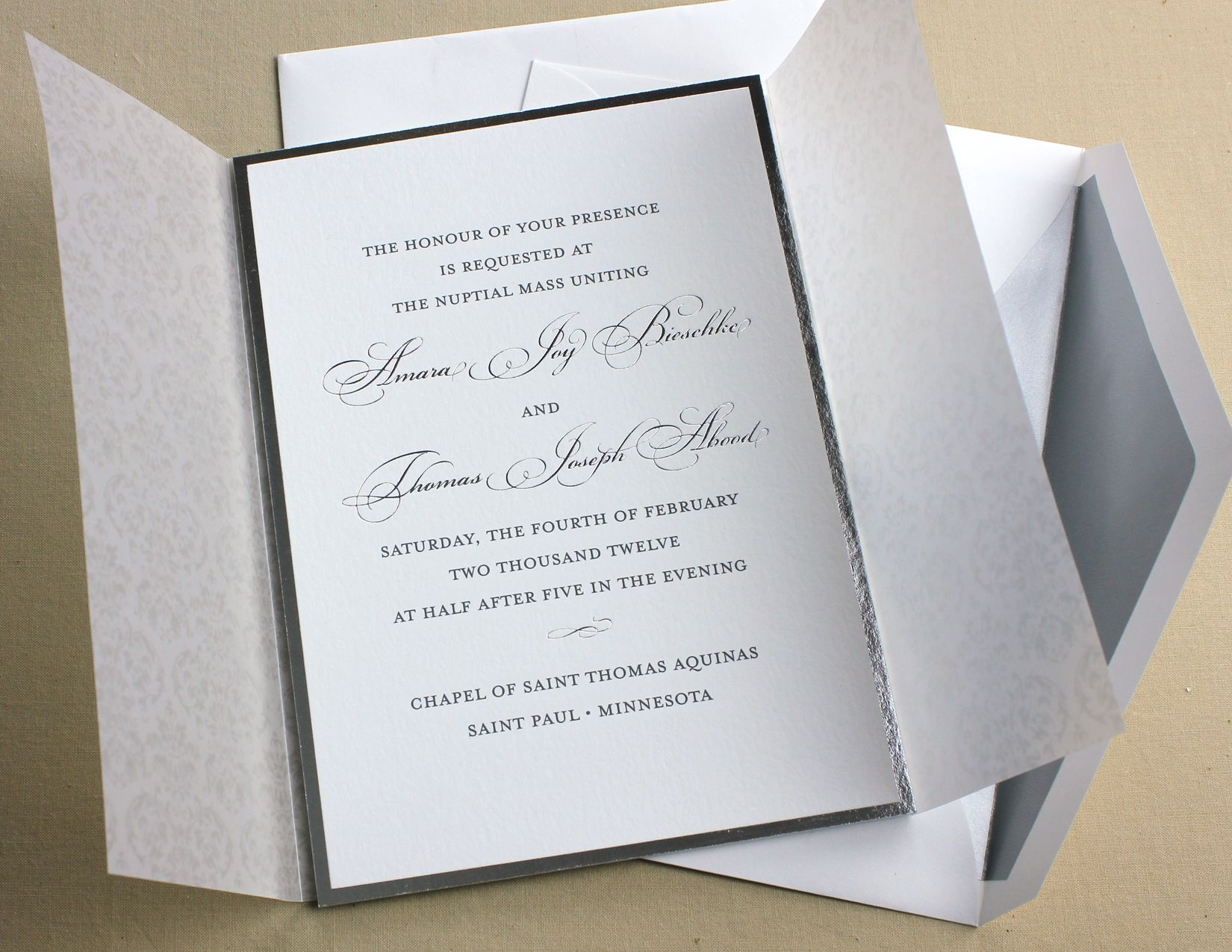 Silver Foil & Charcoal Engraving Invitation February Winter