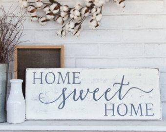 Home Sweet Home Rustic Front Door Sign Cursive Wood Sign Porch