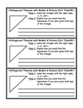 Pythagorean Theorem with Models Exit Ticket | Coordinate