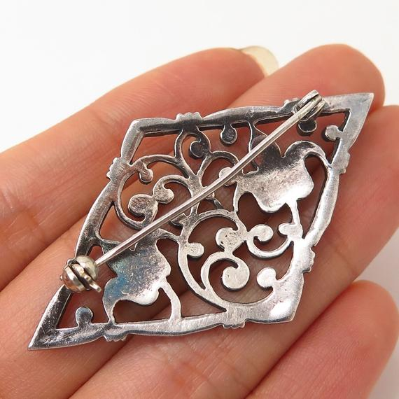 Jewelry & Watches 925 Sterling Silver Vintage Real Marcasite Gemstone Floral Pin Brooch Diamonds & Gemstones