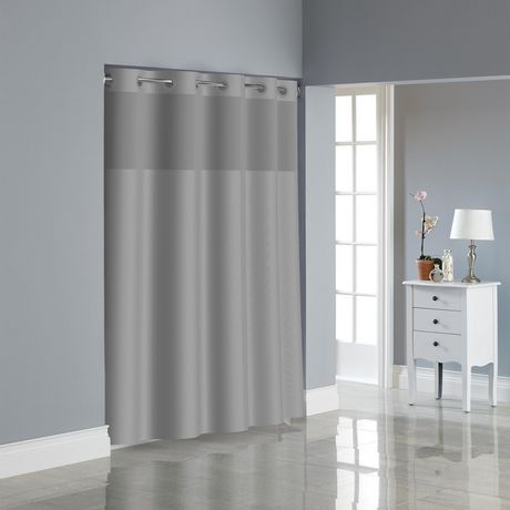Hookless Dobby Texture Shower Curtain With Peva Liner Drizzle Grey
