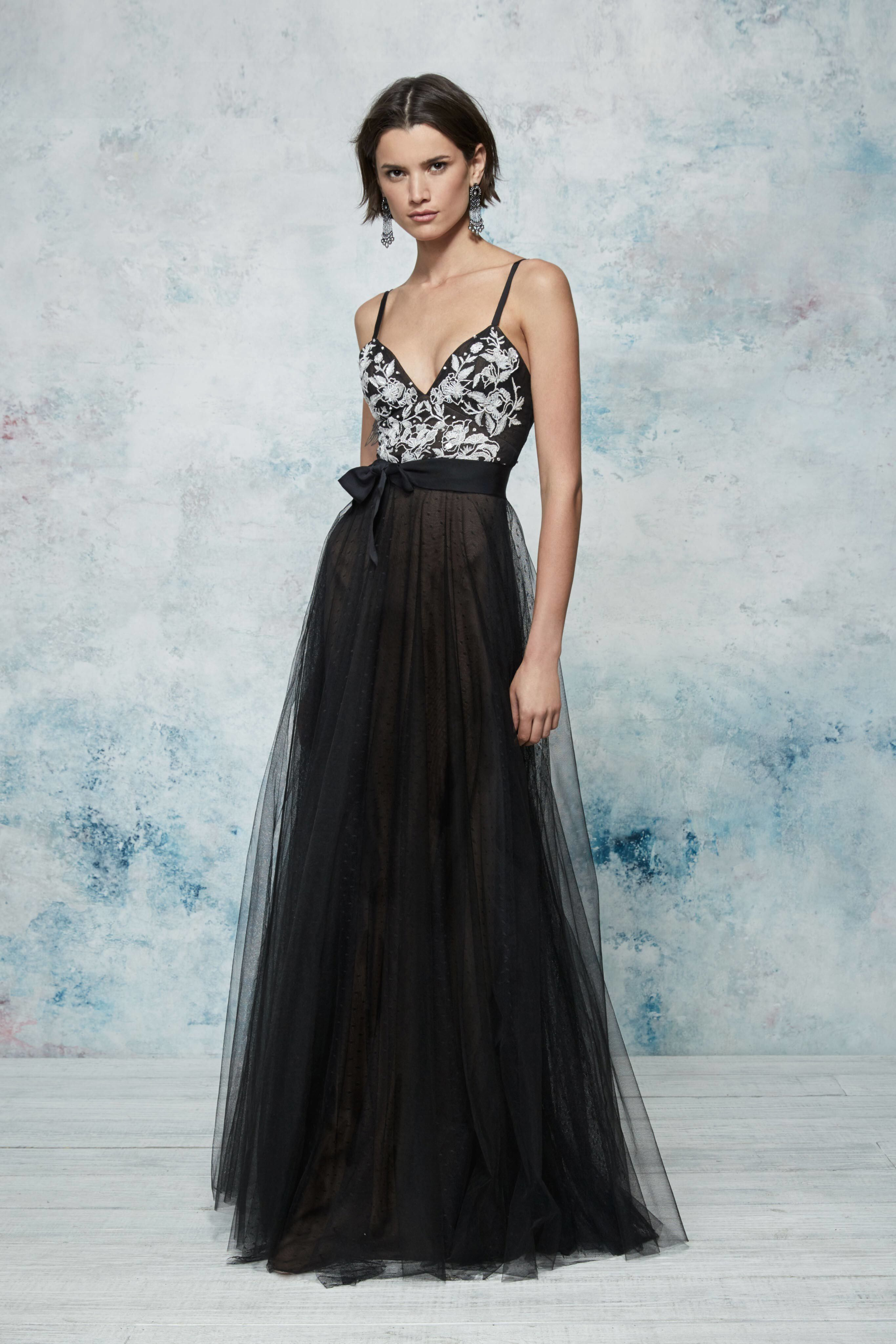 828f39068d6 Marchesa Notte Resort 2019  Beautiful Black tulle gown with a black white  bodice.