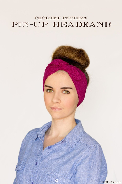 Free Crochet Pattern  Retro Pin Up Headband. From http   www. 16cae661834
