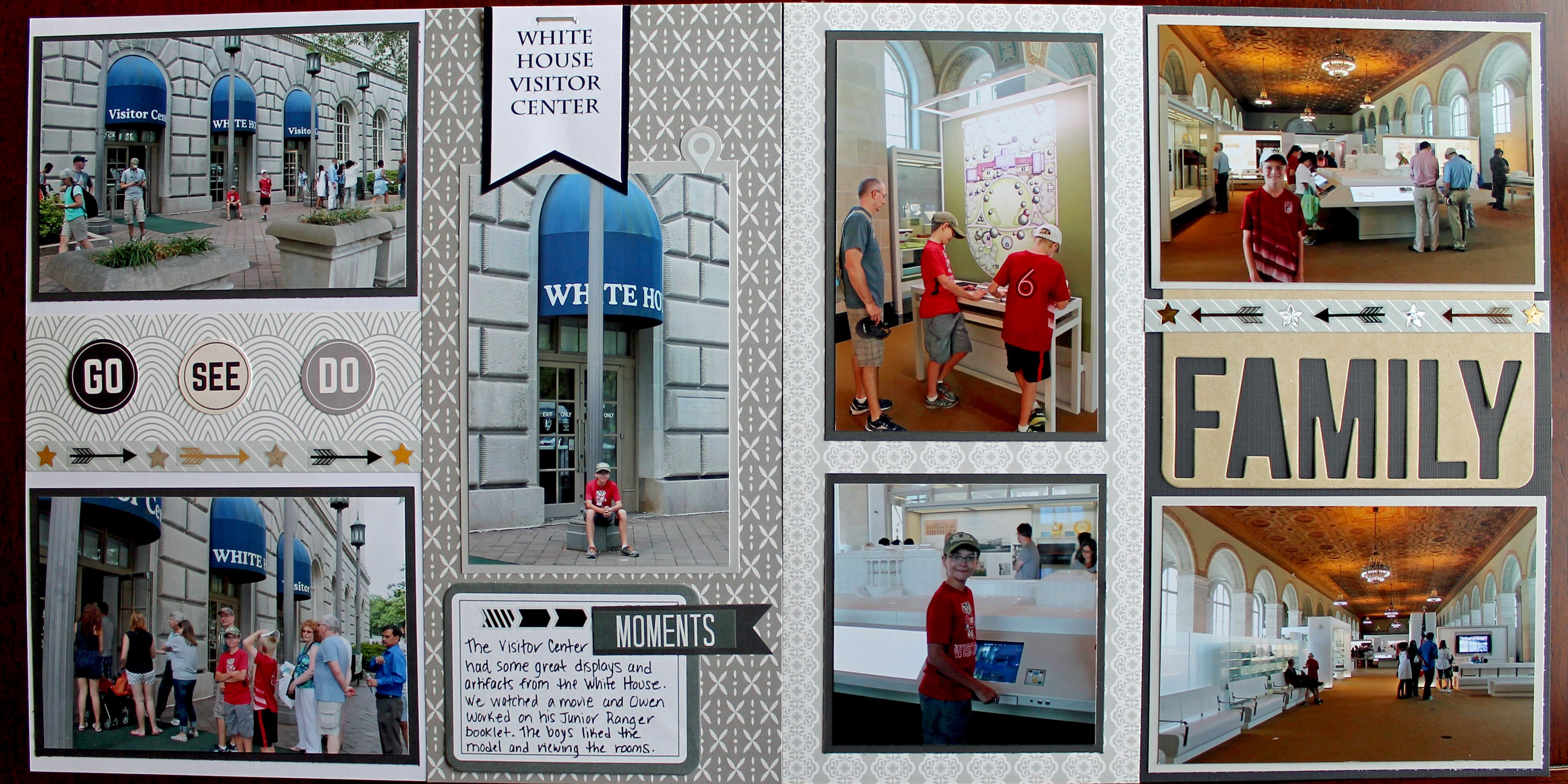 White House Visitor Center Scrapbook Page 12x12 Layout Washington Dc Scrapbook C Scrapbooking Layouts Vacation Vacation Trips Scrapbooking Layouts Travel