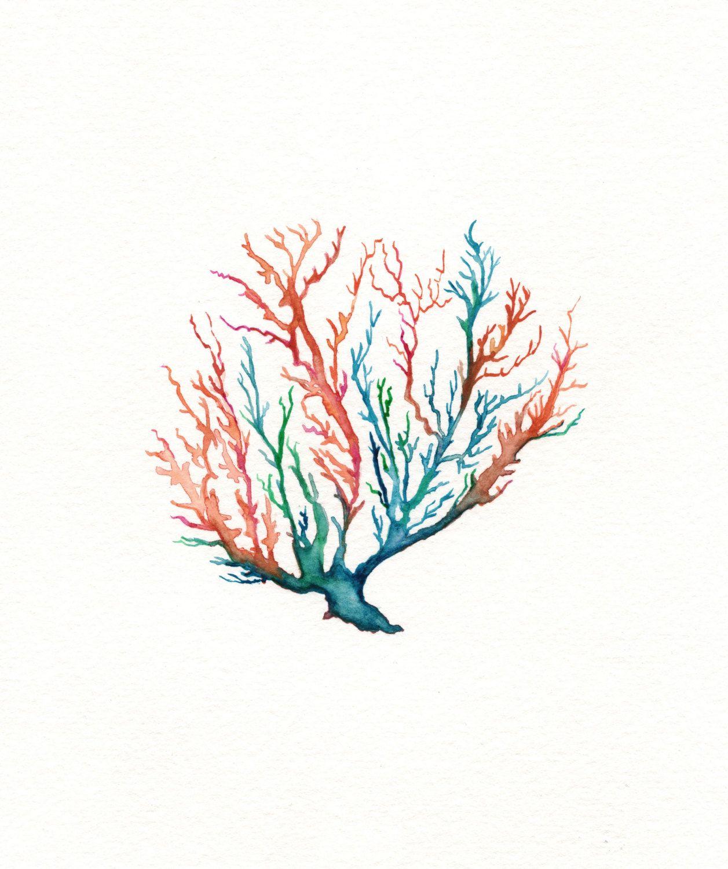 Bathroom Wall Art Canvas Artwork Nautical Coral Reef Ocean: No. 5 Sea Coral, Wall Art, Watercolor, Beach Art