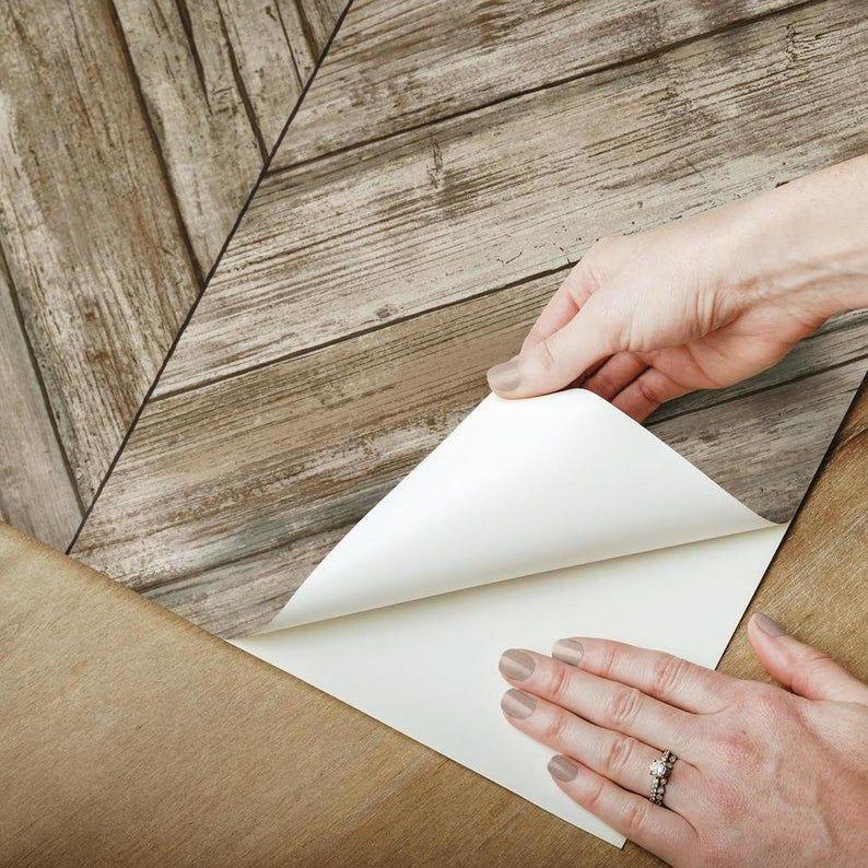 Brown Herringbone Wood Boards Peel And Stick Wallpaper Etsy Peel And Stick Wallpaper Herringbone Wood Wood Board