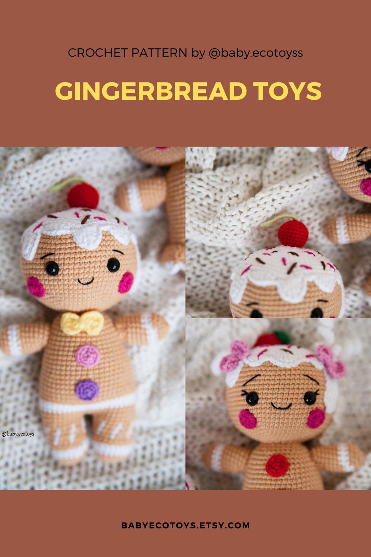 Amigurumi patron espaol Gingerbread man and girl.