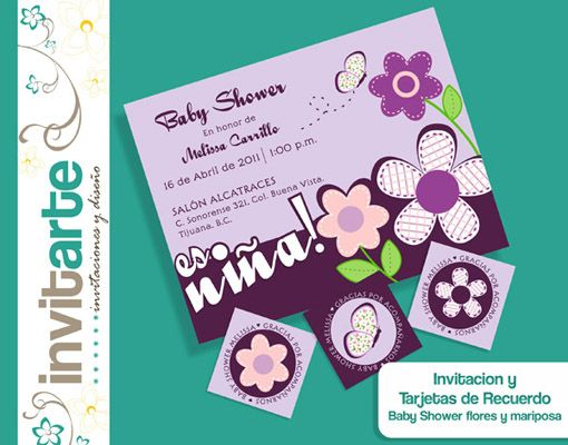 BABY SHOWER FLORES Y MARIPOSA Kit Invitacion y recuerdos.jpg (510 ...