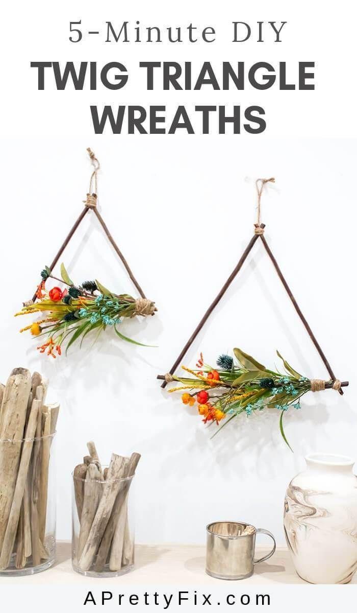 DIY Twig Triangle Wreaths #twigcrafts