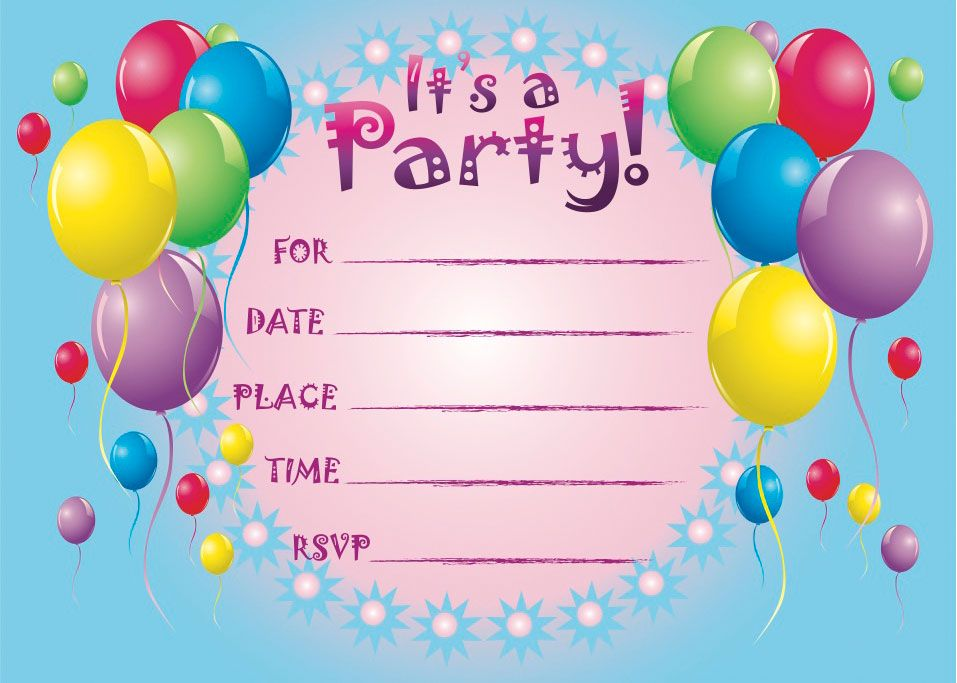 Printable Birthday Invitations For Year Old Girls So Pretty - Birthday party invitation cards to print