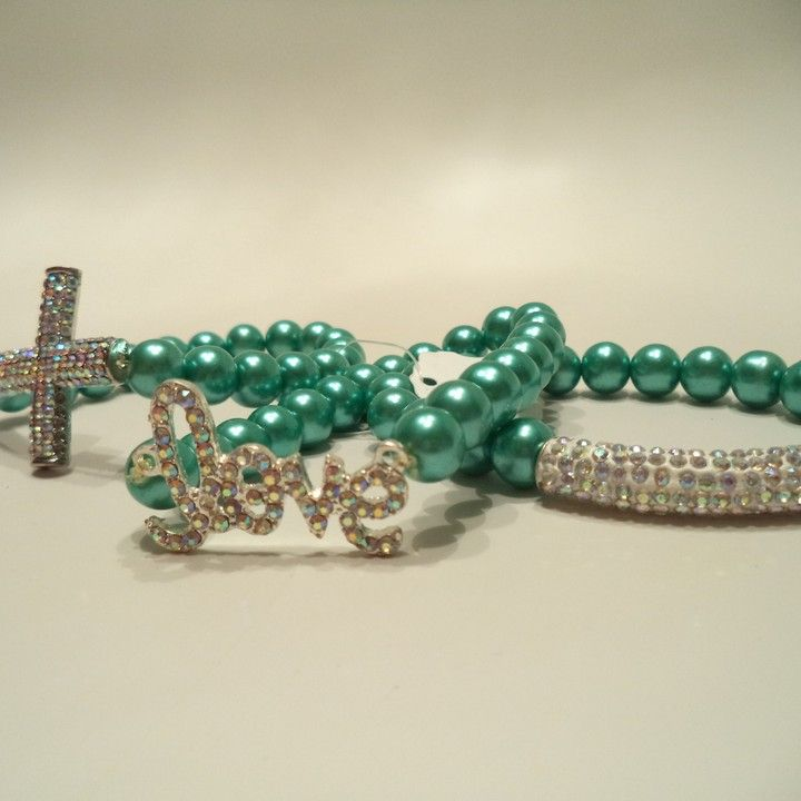 AB Crystal Rhinestones Cross, Love and Bar Bracelet Set from LaTor-Gray Designz for $25.00