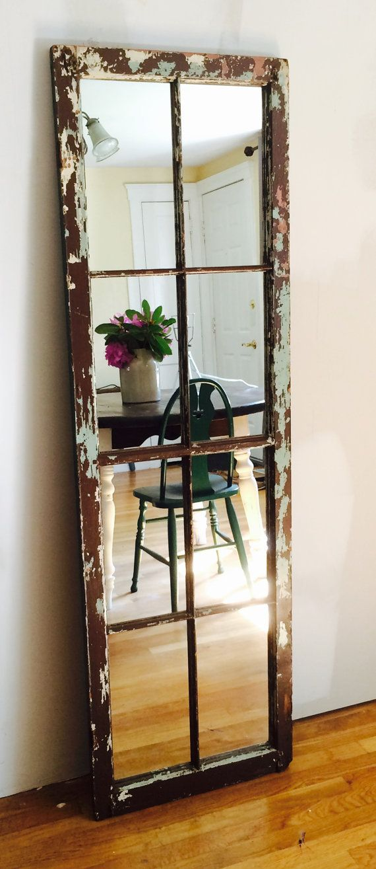 Reclaimed Large Antique Wood Window Standing Floor Full Length Mirror 8 Pane Mirror Floor Length Mirror Decor